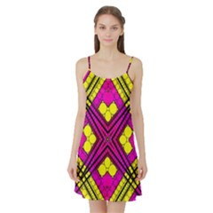 Florescent Pink Yellow Abstract  Satin Night Slip