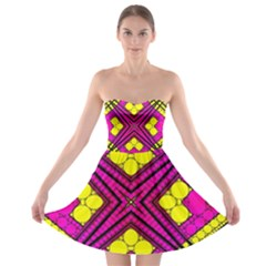 Florescent Pink Yellow Abstract  Strapless Bra Top Dress