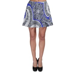 Bright Blue Abstract  Skater Skirts