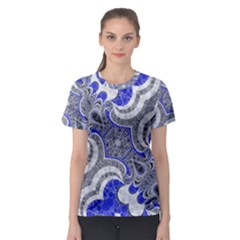 Bright Blue Abstract  Women s Sport Mesh Tees
