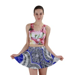 Bright Blue Abstract  Mini Skirts