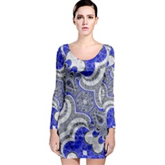 Bright Blue Abstract  Long Sleeve Bodycon Dresses