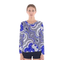 Bright Blue Abstract  Women s Long Sleeve T-shirts