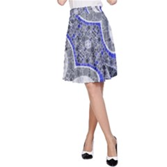 Bright Blue Abstract  A-Line Skirts