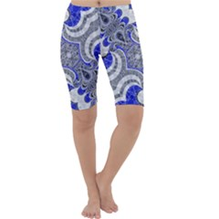 Bright Blue Abstract  Cropped Leggings