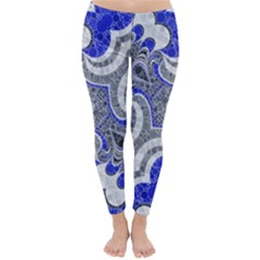 Bright Blue Abstract  Winter Leggings