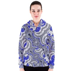 Bright Blue Abstract  Women s Zipper Hoodies