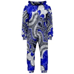 Bright Blue Abstract  Hooded Jumpsuit (ladies)