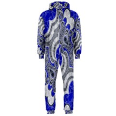 Bright Blue Abstract  Hooded Jumpsuit (men)
