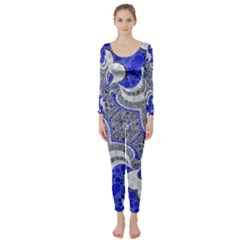 Bright Blue Abstract  Long Sleeve Catsuit