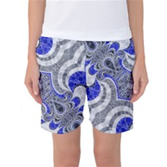 Bright Blue Abstract  Women s Basketball Shorts