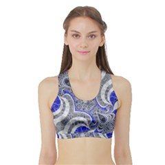 Bright Blue Abstract  Women s Sports Bra with Border