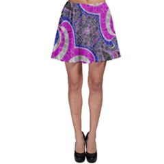 Pink Black Blue Abstract  Skater Skirts