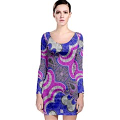 Pink Black Blue Abstract  Long Sleeve Bodycon Dresses