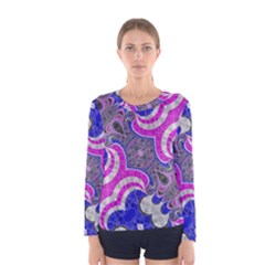 Pink Black Blue Abstract  Women s Long Sleeve T-shirts