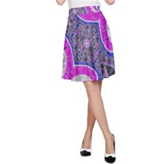 Pink Black Blue Abstract  A Line Skirts