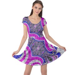 Pink Black Blue Abstract  Cap Sleeve Dresses