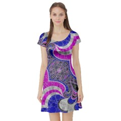 Pink Black Blue Abstract  Short Sleeve Skater Dresses
