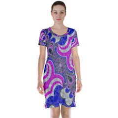 Pink Black Blue Abstract  Short Sleeve Nightdresses