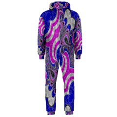 Pink Black Blue Abstract  Hooded Jumpsuit (Men)