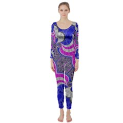 Pink Black Blue Abstract  Long Sleeve Catsuit