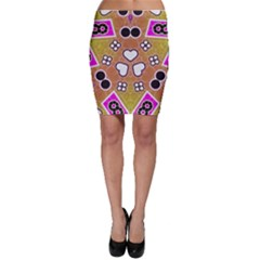 Pink Black Yellow Abstract  Bodycon Skirts