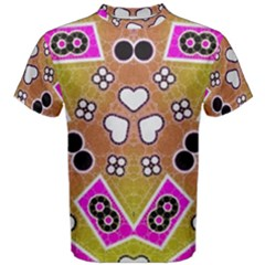 Pink Black Yellow Abstract  Men s Cotton Tees