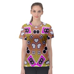 Pink Black Yellow Abstract  Women s Sport Mesh Tees