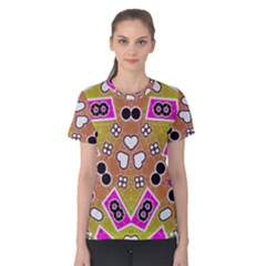 Pink Black Yellow Abstract  Women s Cotton Tees
