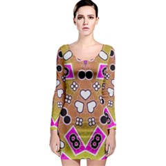 Pink Black Yellow Abstract  Long Sleeve Bodycon Dresses