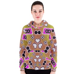 Pink Black Yellow Abstract  Women s Zipper Hoodies