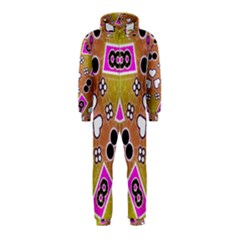 Pink Black Yellow Abstract  Hooded Jumpsuit (Kids)