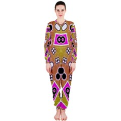 Pink Black Yellow Abstract  OnePiece Jumpsuit (Ladies)