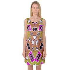 Pink Black Yellow Abstract  Sleeveless Satin Nightdresses