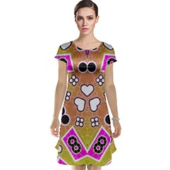 Pink Black Yellow Abstract  Cap Sleeve Nightdresses
