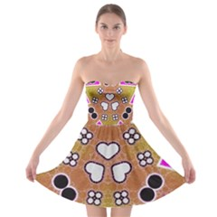 Pink Black Yellow Abstract  Strapless Bra Top Dress