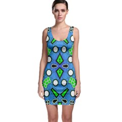 Florescent Blue Green Abstract  Bodycon Dresses