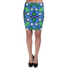 Florescent Blue Green Abstract  Bodycon Skirts