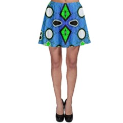 Florescent Blue Green Abstract  Skater Skirts