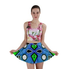 Florescent Blue Green Abstract  Mini Skirts