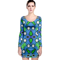 Florescent Blue Green Abstract  Long Sleeve Bodycon Dresses