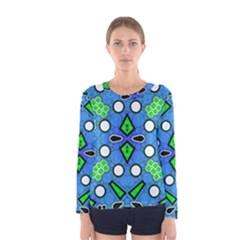 Florescent Blue Green Abstract  Women s Long Sleeve T-shirts