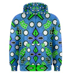 Florescent Blue Green Abstract  Men s Zipper Hoodies