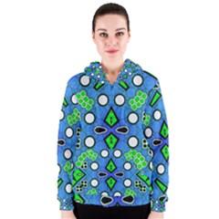 Florescent Blue Green Abstract  Women s Zipper Hoodies