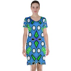 Florescent Blue Green Abstract  Short Sleeve Nightdresses
