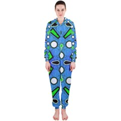 Florescent Blue Green Abstract  Hooded Jumpsuit (ladies)