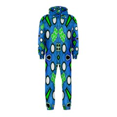 Florescent Blue Green Abstract  Hooded Jumpsuit (kids)