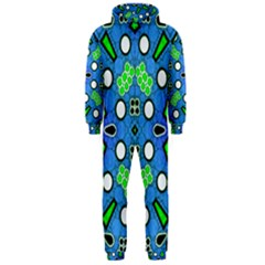 Florescent Blue Green Abstract  Hooded Jumpsuit (Men)