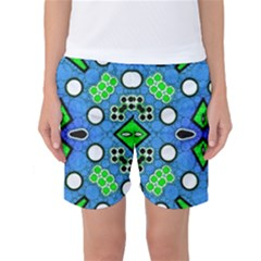 Florescent Blue Green Abstract  Women s Basketball Shorts