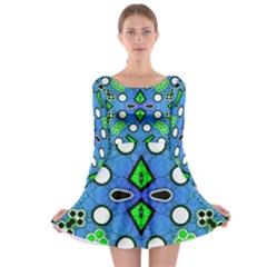 Florescent Blue Green Abstract  Long Sleeve Skater Dress